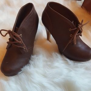 Madden Girl Brown ankle lace up booties